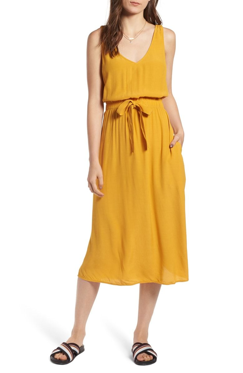 Treasure Bond Blouson Tank Midi Dress Nordstrom Dresses Bond Dress Yellow Dress Summer [ 1197 x 780 Pixel ]