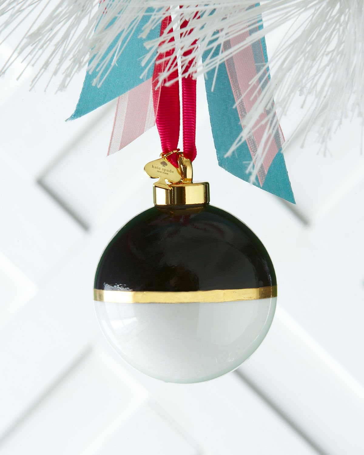 Black & White Colorblock Christmas Ornament by kate spade new york ...