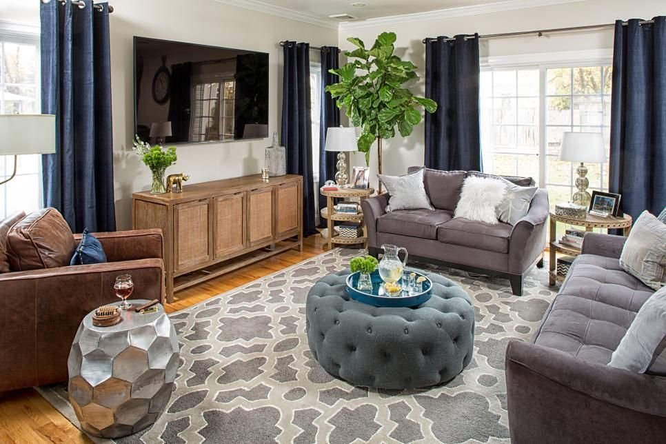 Transitional Living Room Features Tasteful Design Blue Curtains Living Room Rugs In Living Room Living Room Grey
