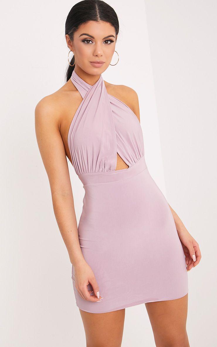 0560a2edba7b2 Marisa Mauve Cross Front Mini Dress   Giving a Gift in 2019   Purple ...