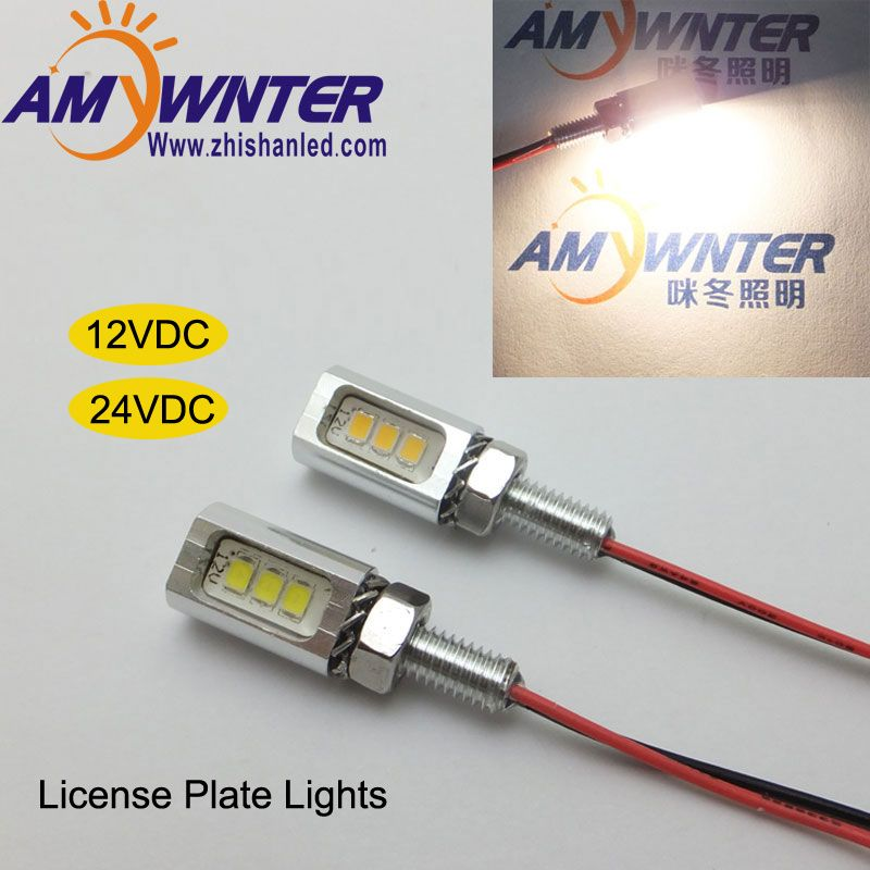Alta Qualidade Auto Lampada Conduzida 12 V Carro Styling Numero Da Cauda Da Motocicleta Placa De Licenca Screw Parafuso Lamp License Plate Car Lights Lamp Bulb