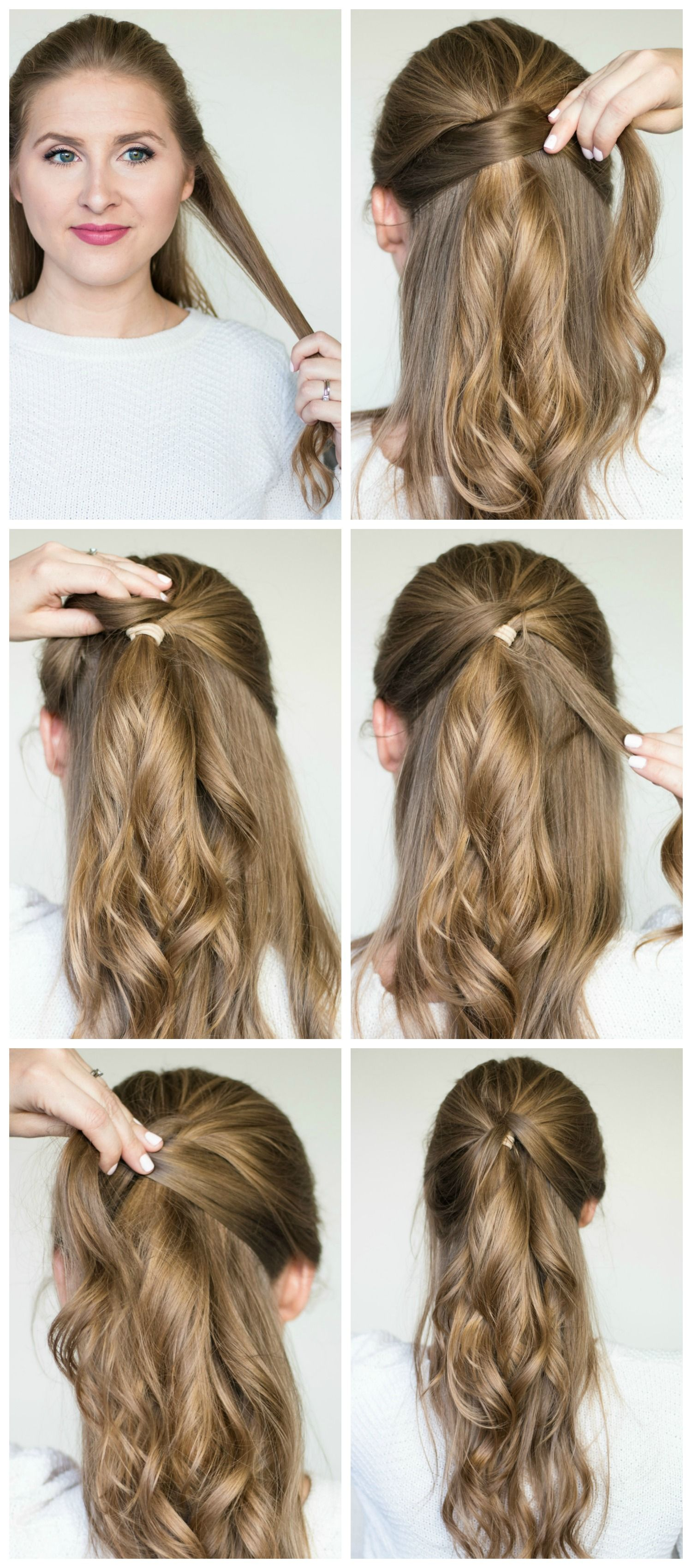 Quick & easy hairstyle tutorials (braided messy bun, twisted half