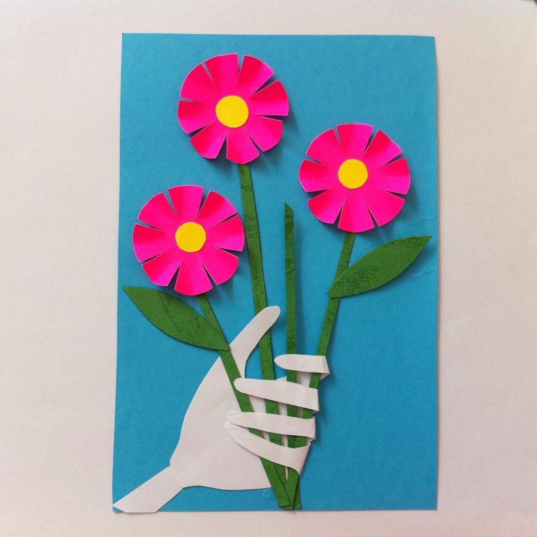 Открытка на день матери из цветной бумаги, свинки картинки
