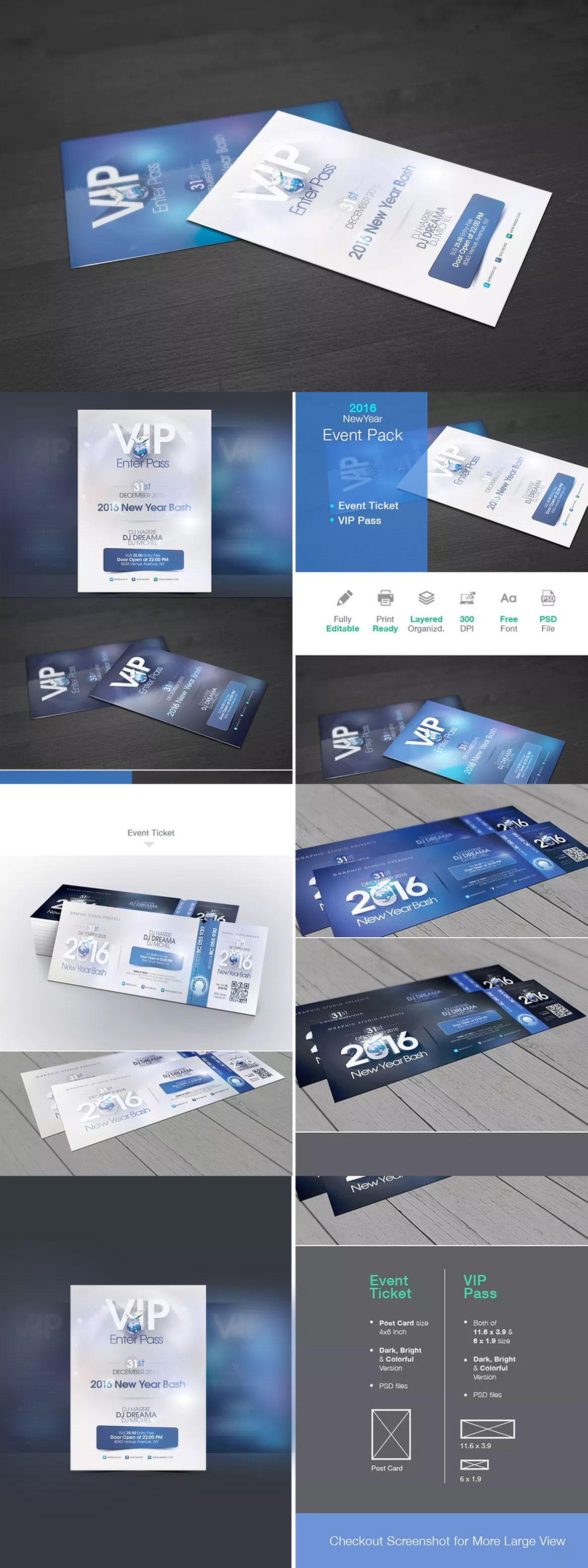New Year Event Ticket & VIP Pass Template PSD | Event Ticket