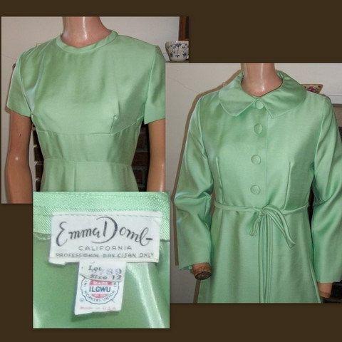 SALE 60s Emma Domb Mint Green Dress and Coat Set Designer Vintage M
