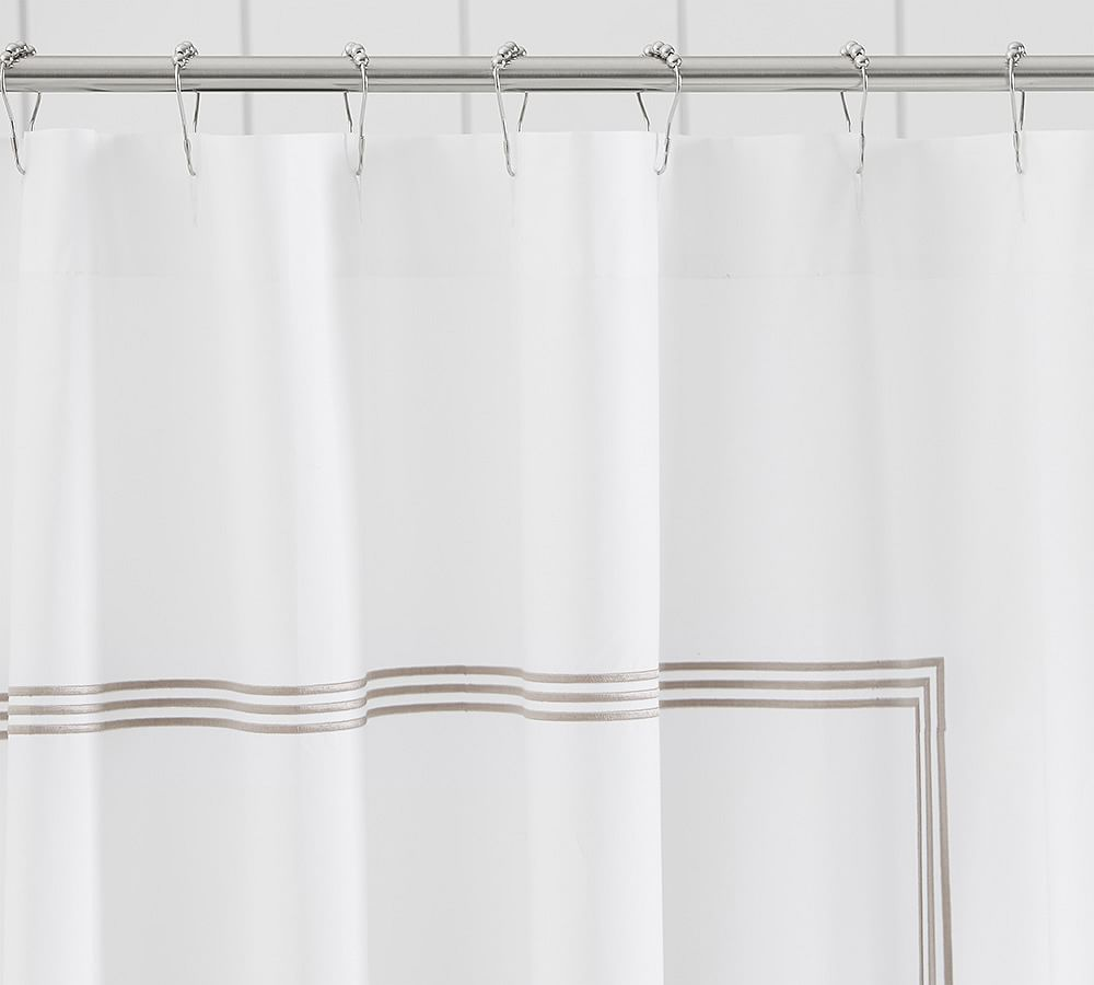 Grand Embroidered Shower Curtain Dark Porcelain Blue Fabric