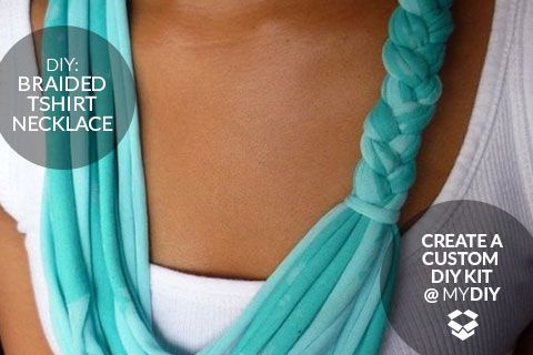 DIY Braided T-Shirt Necklace (via Two Oh Two Seven) - once you're familiar with using a rotary cutter to slice a tshirt, the jewelery possibilities are endless.