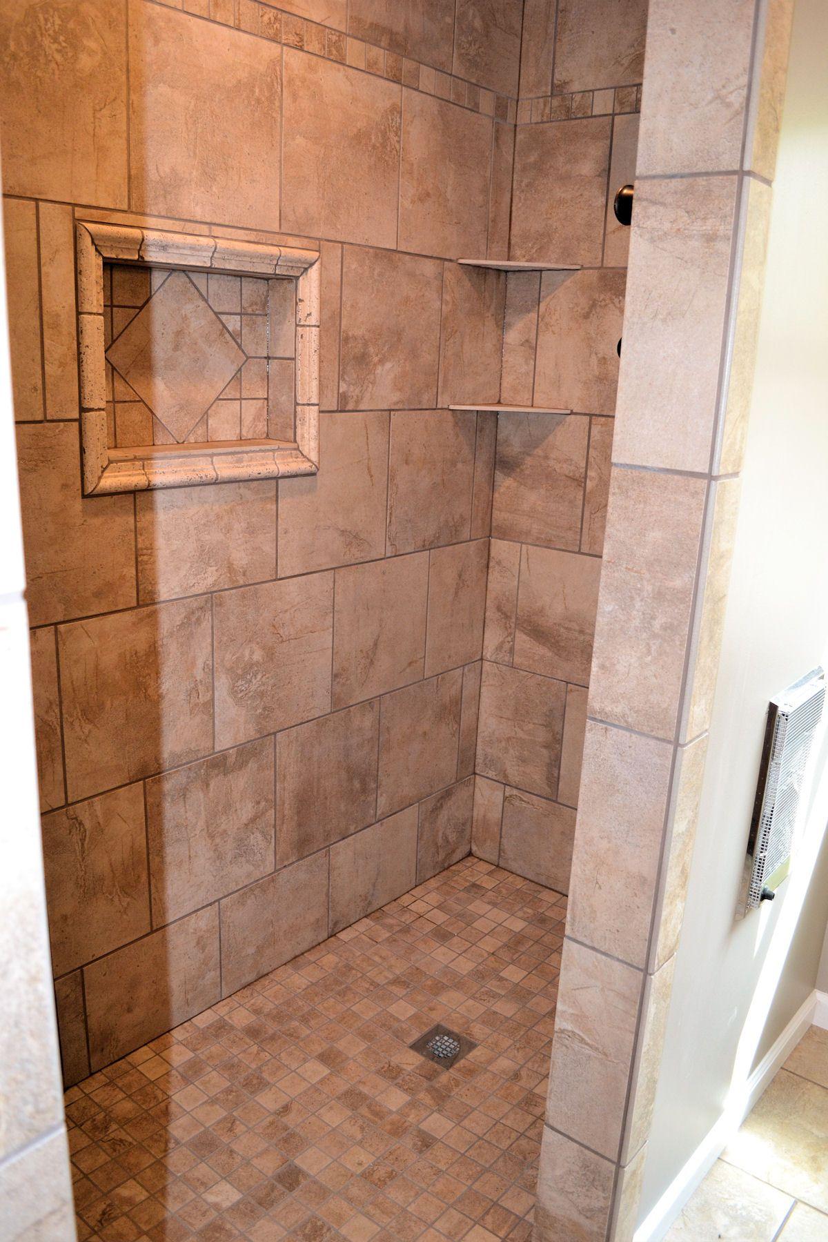 Glass shower cabin partition walls white ceramic flooring tile ...