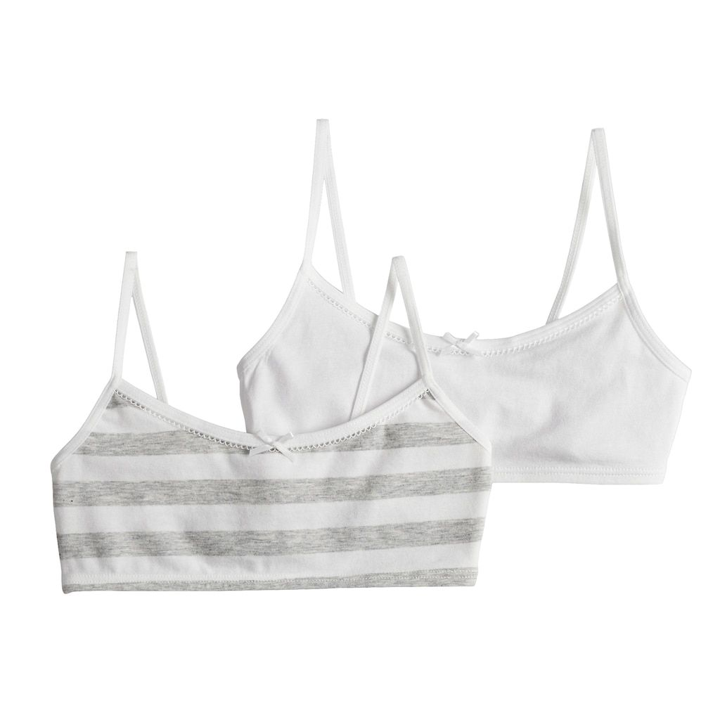 9ca8214b44f Girls 7-16 Hanes 2-pack Wire Free Crop Top Bras, Size: Small, Med Grey