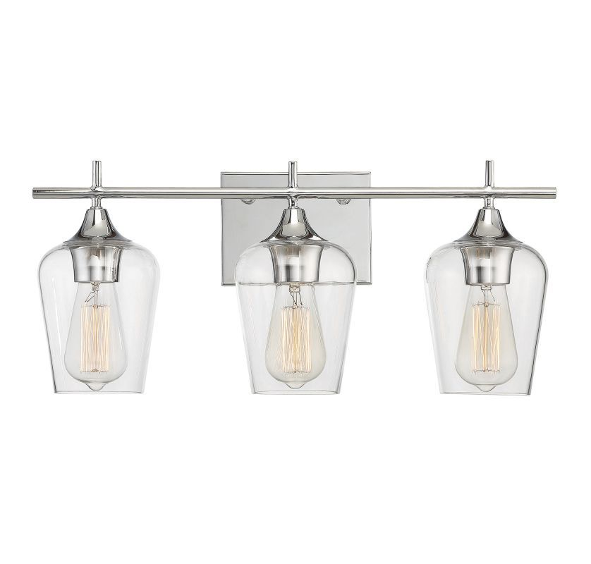 Savoy House 8 4030 3 Octave Light 21 Wide Bathroom Vanity With Clear Gl Polished Chrome Indoor Lighting Fixtures