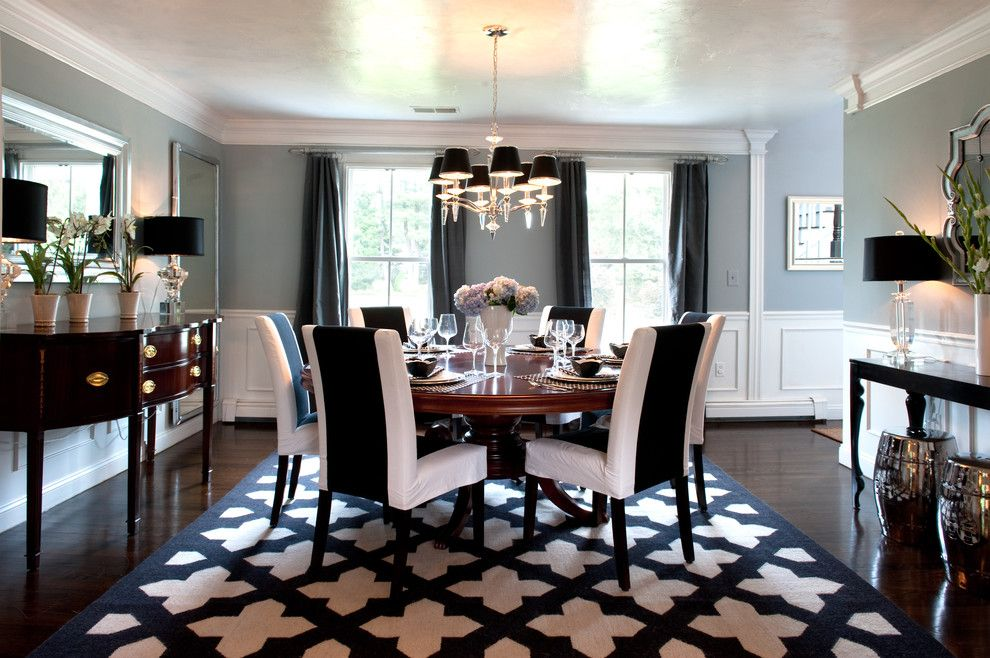 Houzz Stunning Dining Room Black And White Dining Room White