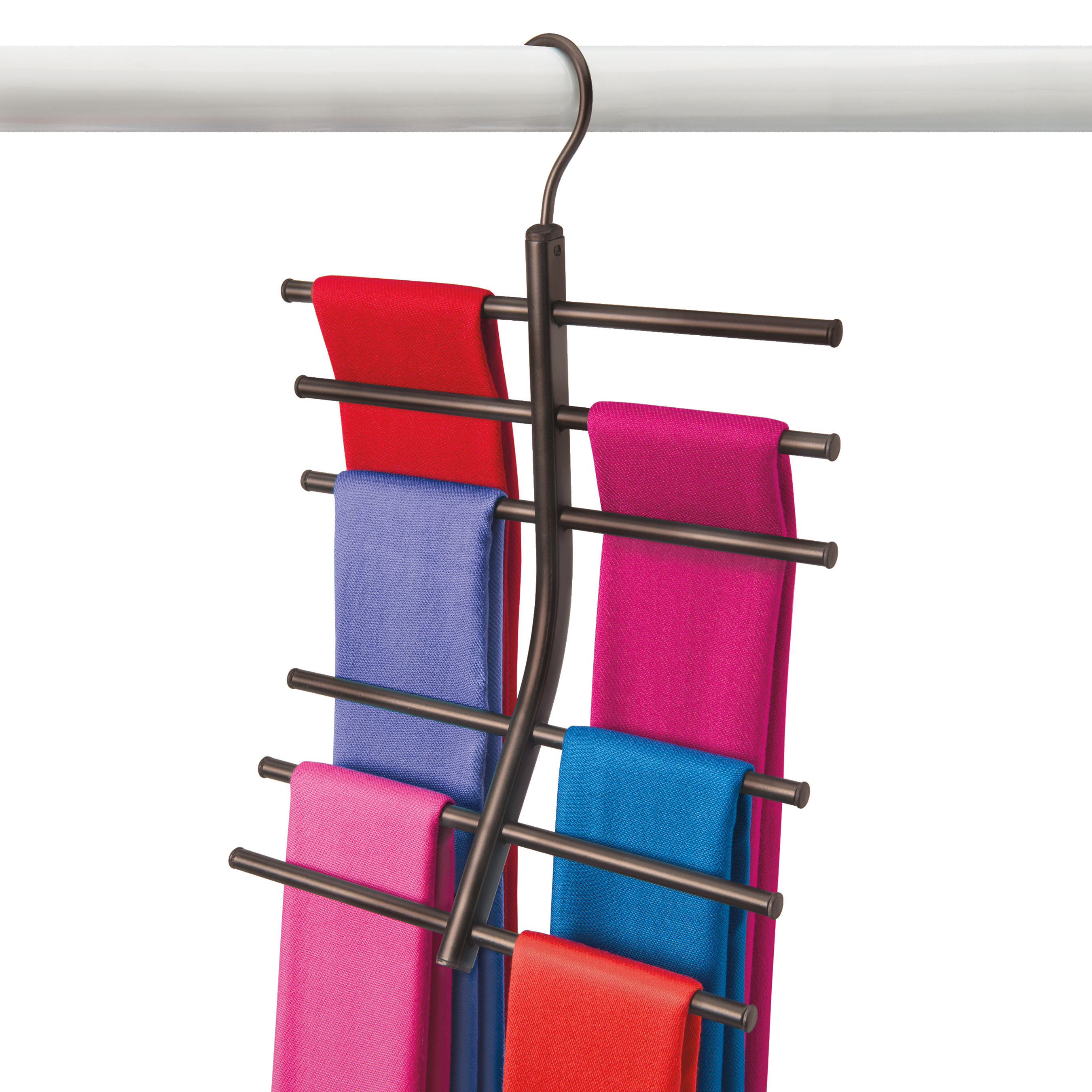 Curved Closet Rod Delectable The Curved Tiered Design Keeps Scarves Separate And Wrinklefree Inspiration