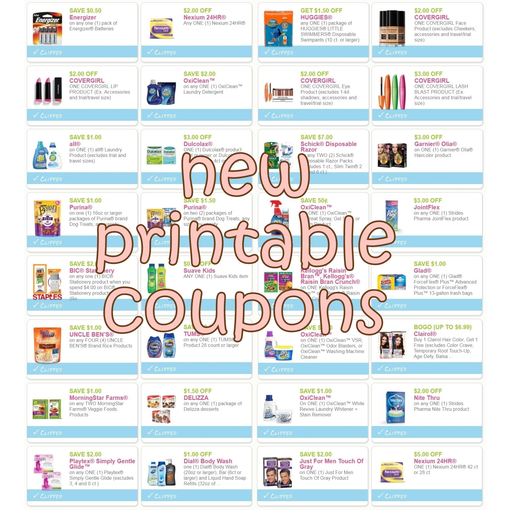 New Printable Coupons For All Clairol Covergirl Oxi Clean Playtex More Direct Links Http Www Iheartcoupons Printable Coupons Coupons Printables