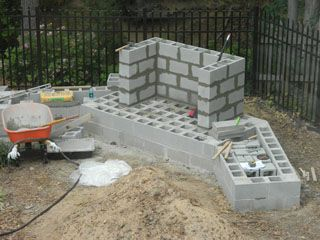 How to build an outdoor fireplace with cinder blocks for Building an indoor fireplace