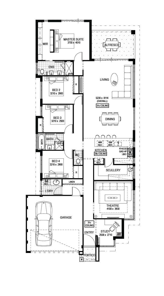 The Marlow 4 Bed 2 Bath 13m Wide 249m2 Display Home In Kwinana Open 2 5pm Mon Wed 1 5pm Sat 12 5pm S House Floor Design House Floor Plans House Plans