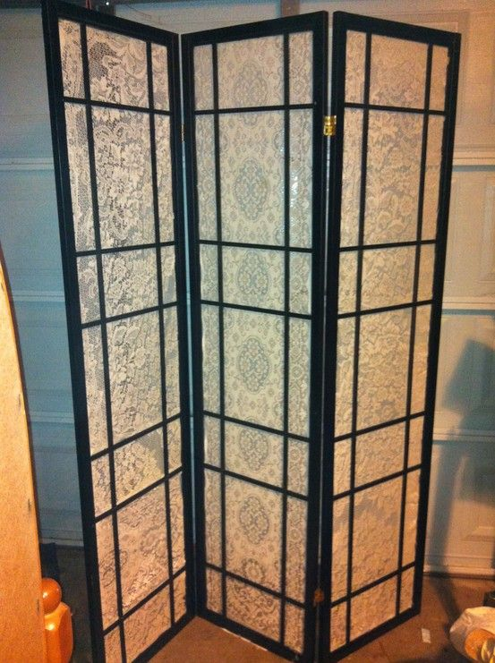 Repurposed Japanese Screen Room Divider And Old Lace Tablecloths