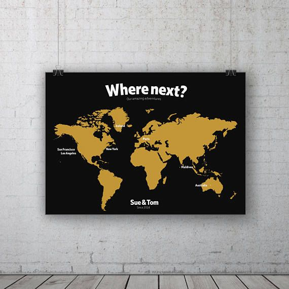 Yellow personalised map print world travel map custom world map yellow personalised map print world travel map custom world map map of the gumiabroncs Choice Image