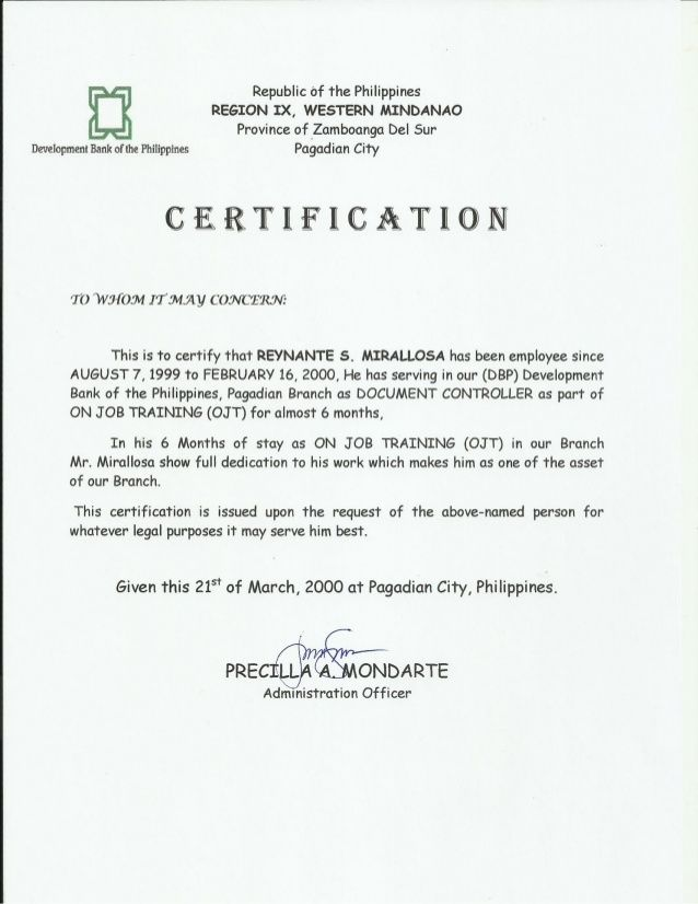 Compensation certificate form filipino certification qatar makes certificate of employment dbp as ojt slideshare yadclub Images