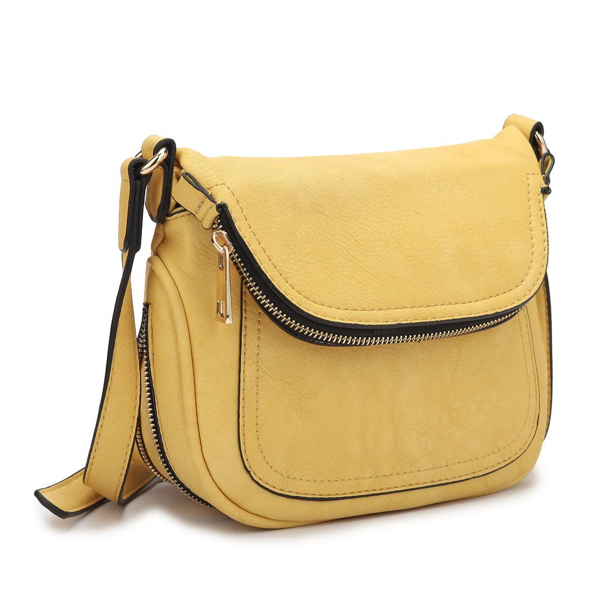 MMK collection Crossbody Bag ~Messenger Purse(2830)~ Crossbody Bag for Women~multiple pocket Messenger handbag. (2830 Yellow)