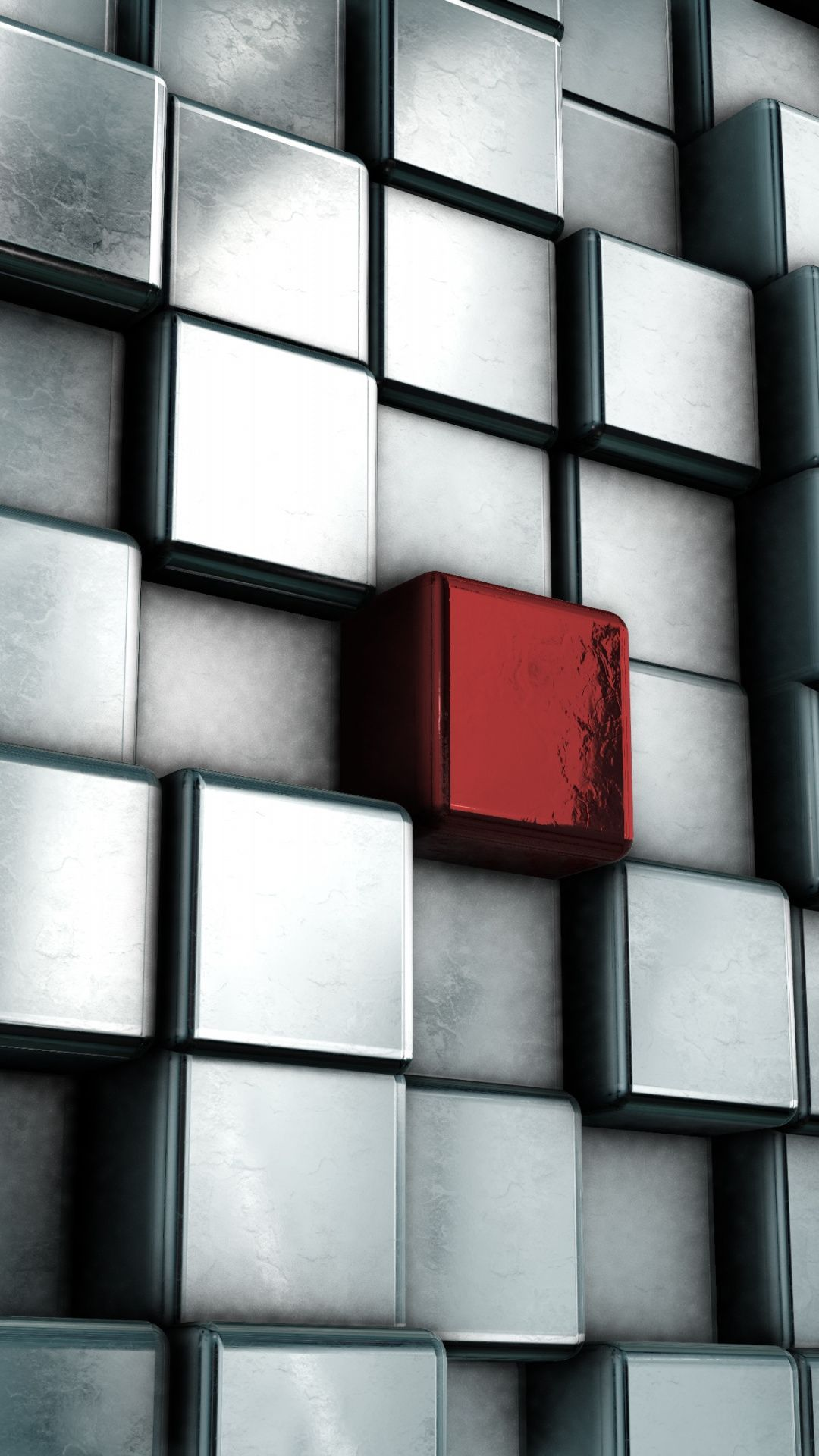 Cubes Silver Single Red Cube Abstract Wallpaper Abstract Wallpaper Abstract Cube