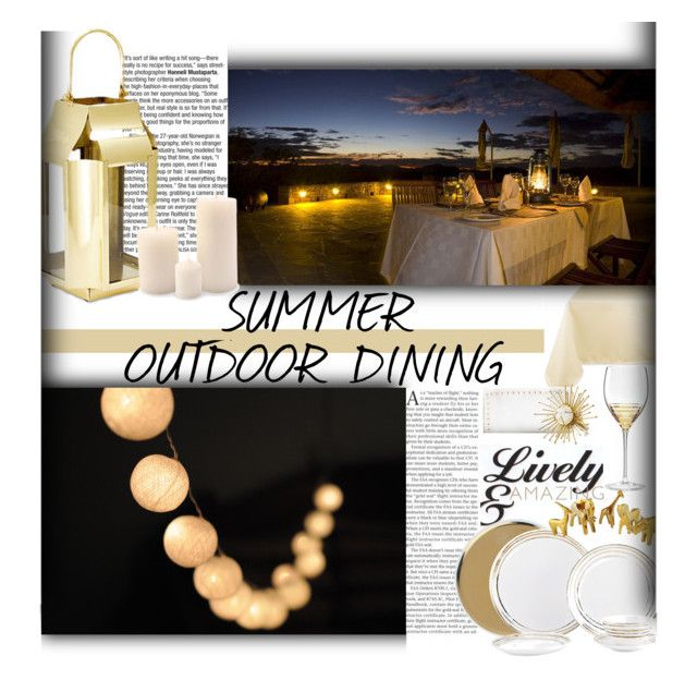 Summer Outdoor Dining: Evening by lovelyblk on Polyvore featuring polyvore, interior, interiors, interior design, home, home decor, interior decorating, Design Imports, Kate Spade, Canvas Home, Kim Seybert, Lenox, Williams-Sonoma and Global Views