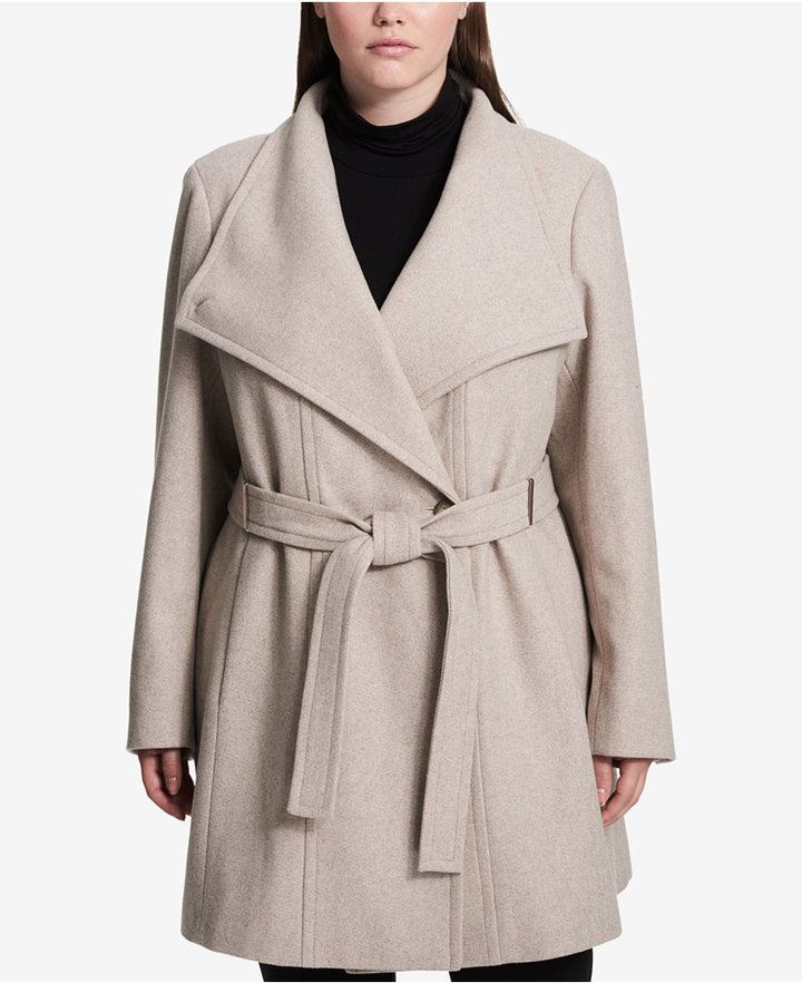 1e1a4e5b25500 Calvin Klein Plus Size Belted Asymmetrical Walker Coat