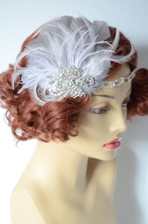 READY TO SHIP Grey and white Feather headband, Great Gatsby bridal headband, 1920s one of a kind, ready to ship, by yanethandco