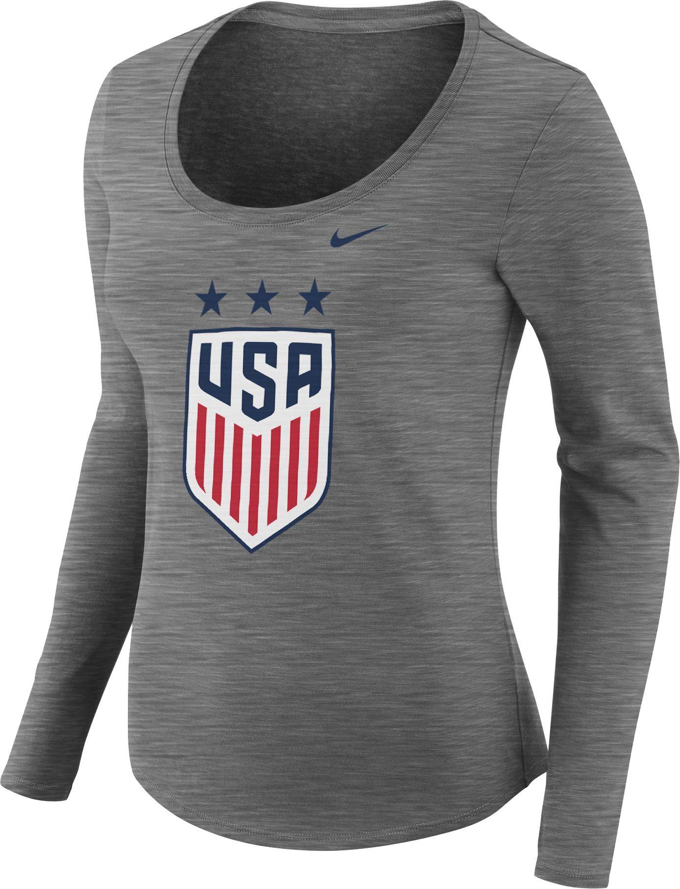 b43101a8 Nike Women's USA Soccer Crest Heather Grey Scoop Neck T-Shirt, Size: XL,  Team