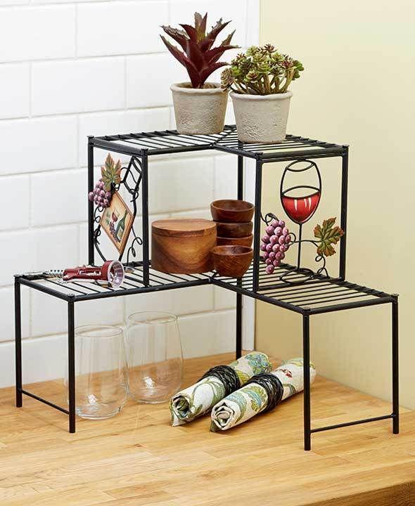 Corner Shelf 2 Tier Rack Wine Kitchen Decor E Saver