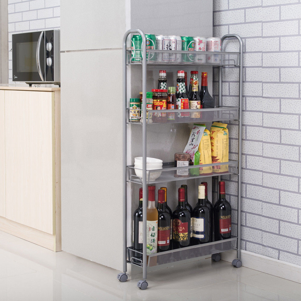 4 Tiers Slim Slide Out Storage Tower Pantry Rolling Kitchen Laundry Bathroom 6901035609715 Ebay Kitchen Storage Hacks Storage Towers Storage