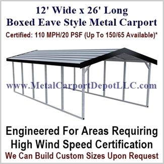 12 X 26 A Frame Metal Carport Boxed Eave Roof Metal Carports Metal Building Kits Metal Buildings