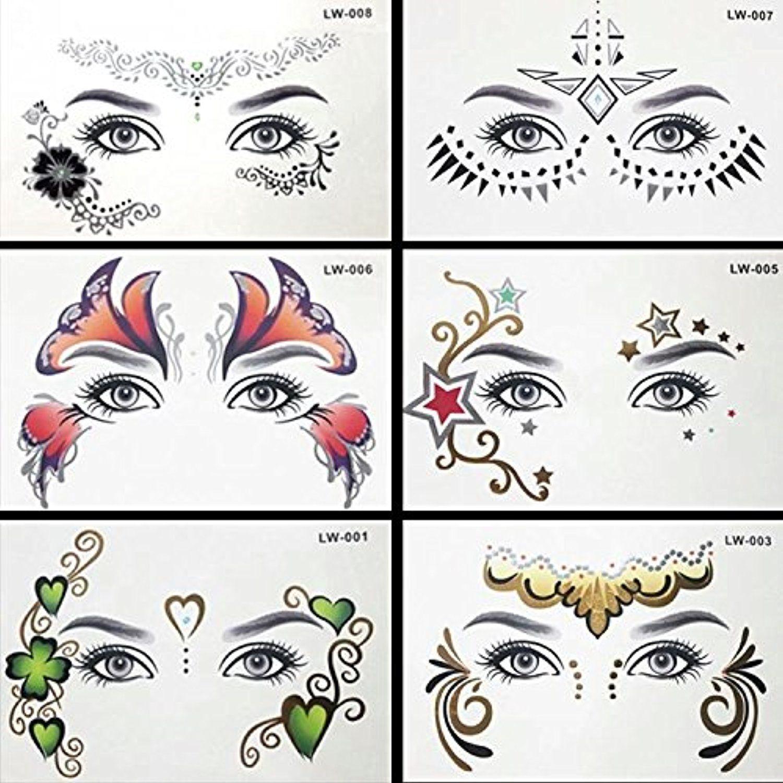 6 Sheets Wrist Body Art Henna Tattoo Stencil Flower: 6 SHEETS HENNA FACE Metallic Flash Temporary Tattoos Body