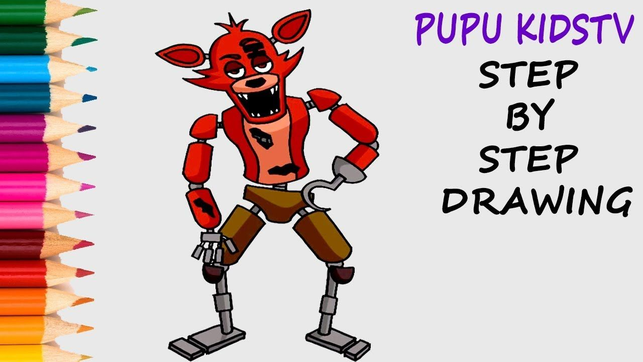 How to Draw Foxy FNAF Coloring Pages For Kids With Art Colors For ...