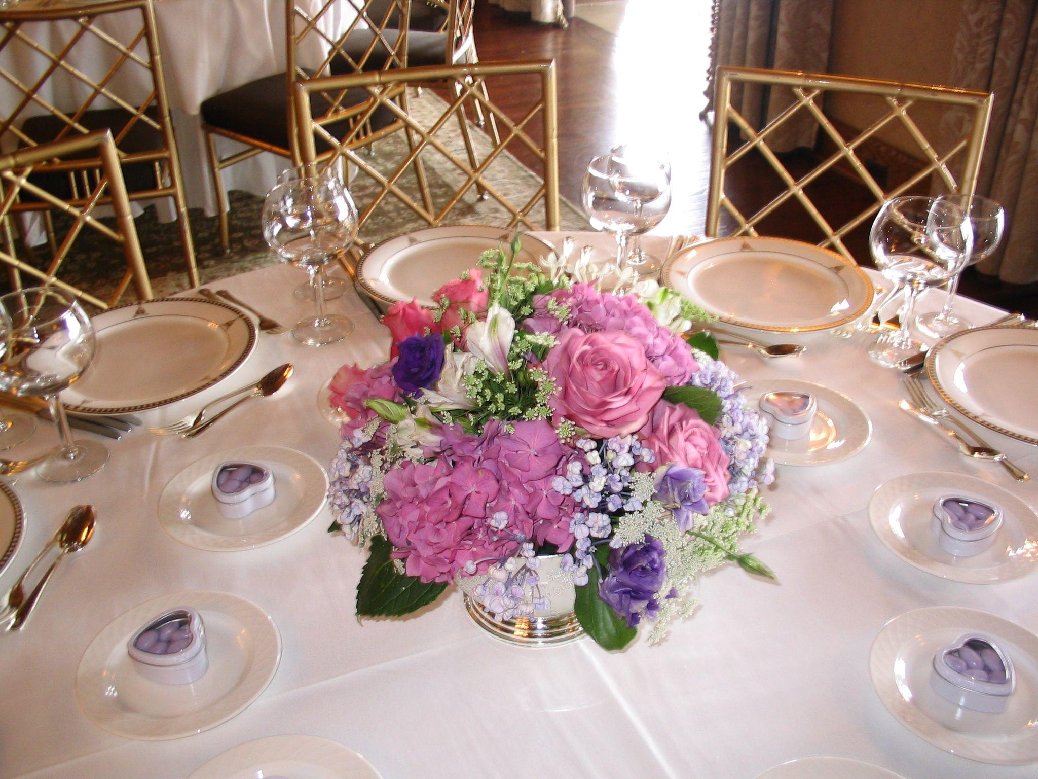 Lavender decor for wedding centerpiece of lavender and blue hues  Low Centerpiece Designs