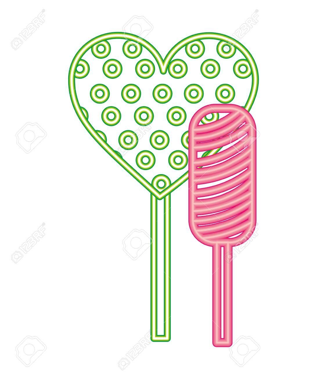 neon sweet candies lollipops heart bar vector illustration