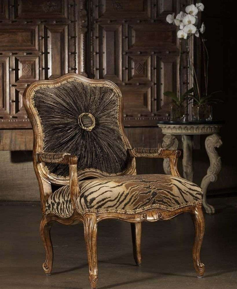 CHAIRS, Leather, Upholstered, Accent High Style Tiger Print Chair. 230