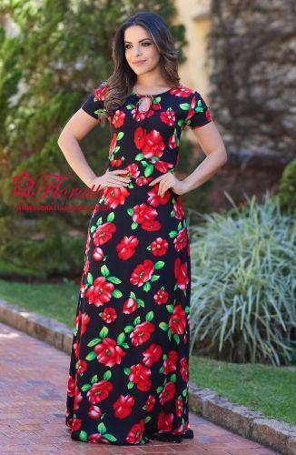 4d7e77808 Vestido confeccionado em Denin bordado Shambrai , detalhe em Pedraria , com  estampa em cor contrastante