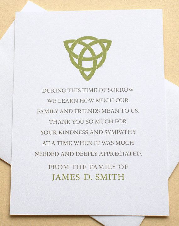 Thank You Sympathy Cards With a Green Celtic Knot - Personalized