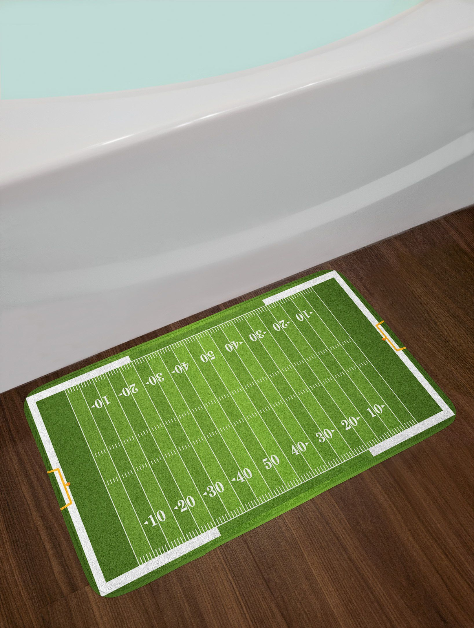 Football Bath Mat By Lunarable Sports Field In Green Gridiron Yard Competitive Games College Teamwork Superbowl Plush Superbowl Game Green Gridiron Super Bowl