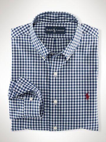 Polo Ralph Lauren Custom Fit Gingham Shirt Navy white | Men's ...