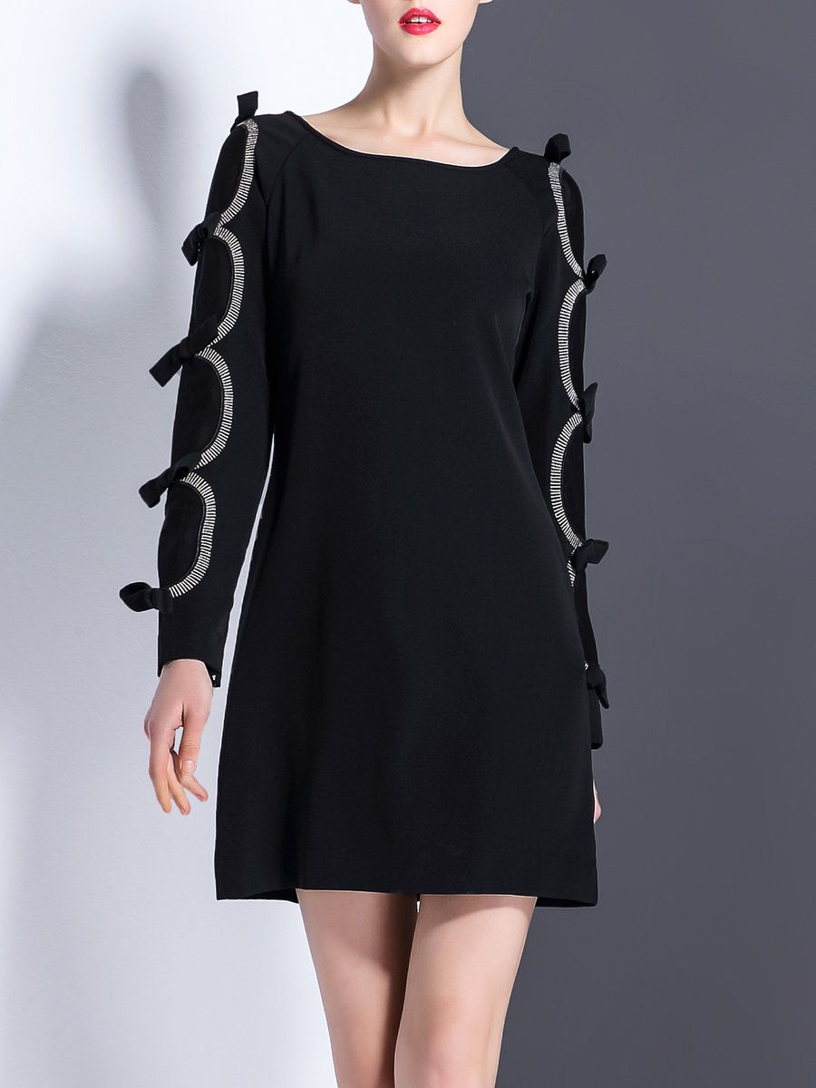 Veinfuns black bow aline long sleeve slash neck mini dress