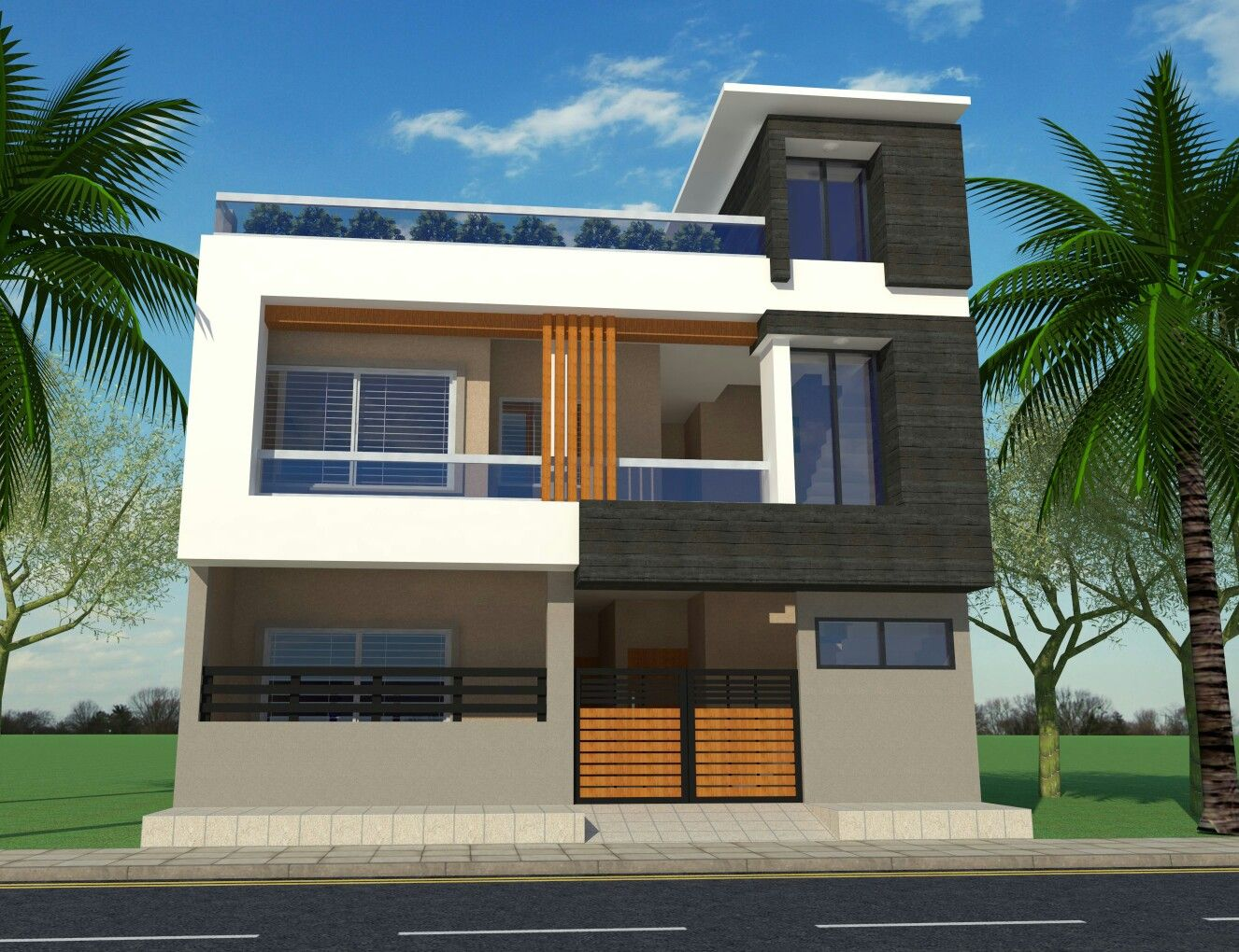 Contemporary House Elevation Single Floor: G+1 House Front Elevation