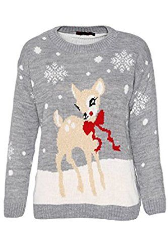 Girls Walk Unisex Kids Baby Deer Christmas Jumper Girls Knitted Bambi Xmas Jumper ** You can get more details by clicking on the image.