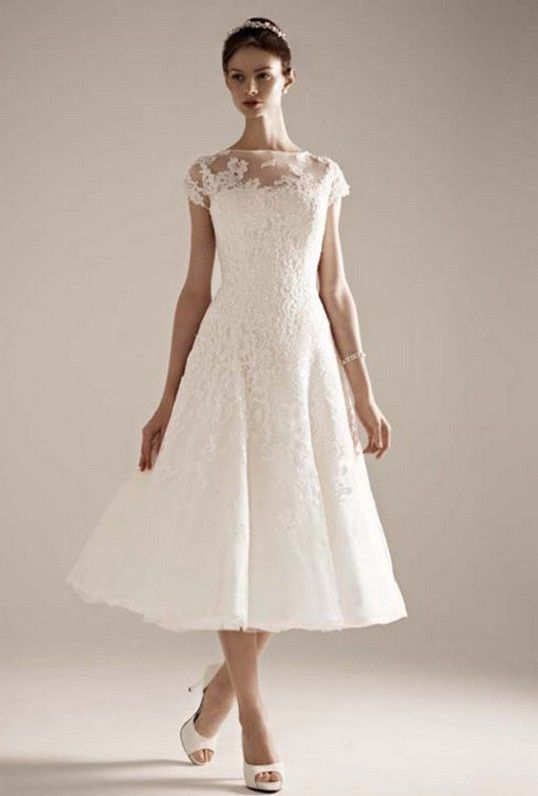Wedding dresses for older brides tea length wedding for Short tea length wedding dresses