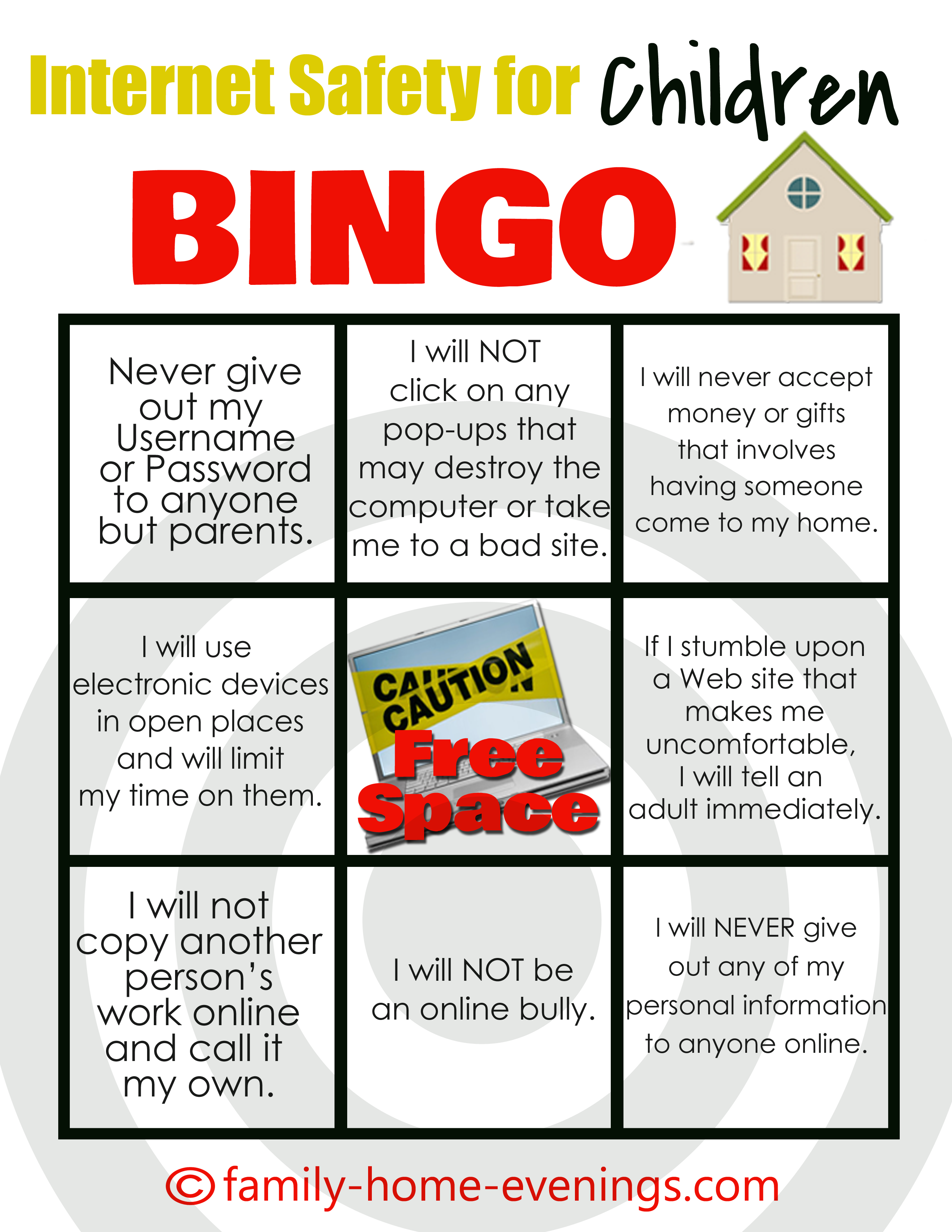 Internet Safety For Children Bingo Card Family Home