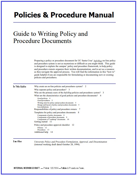 Policies And Procedures Manual Templates 7+ Word & PDF