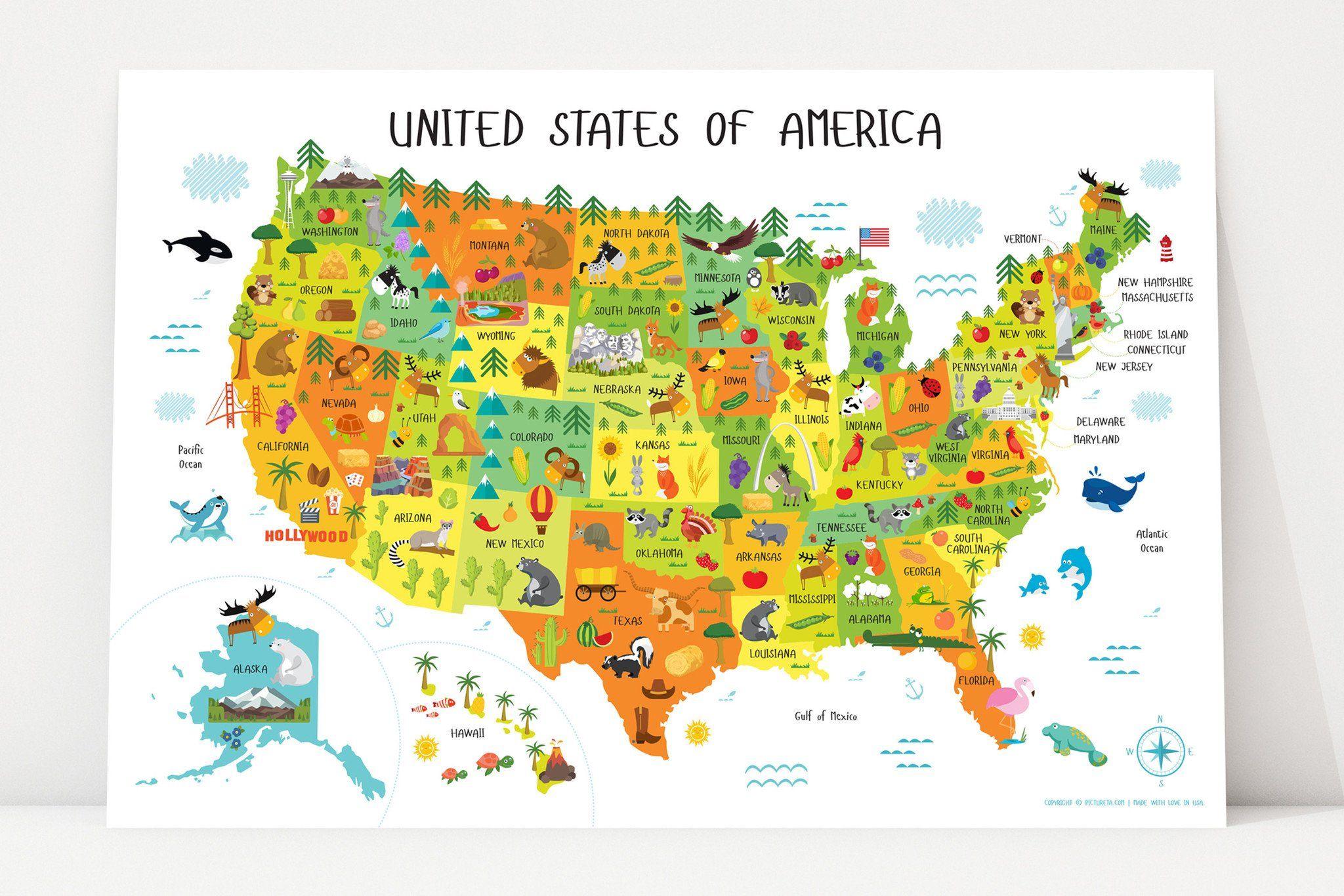 Kids World Map Canvas | Nursery Canvas Wall Art | Animal World Map ...