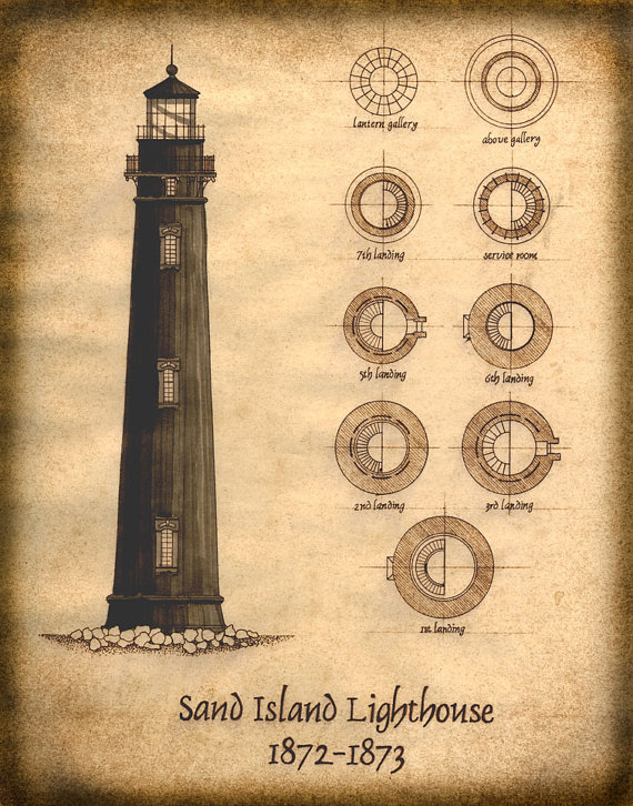 Sand Island Lighthouse Plan Drawing Architectural Plans Etsy Sand Island Lighthouse Print Island Lighthouse