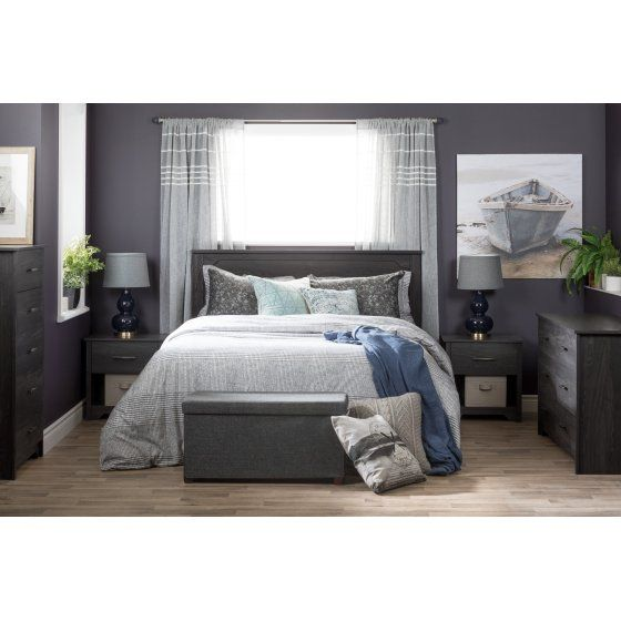 South Shore Fusion 1 Drawer Nightstand Multiple Finishes Walmart Com Grey Oak Oak Bedroom Furniture Peaceful Bedroom