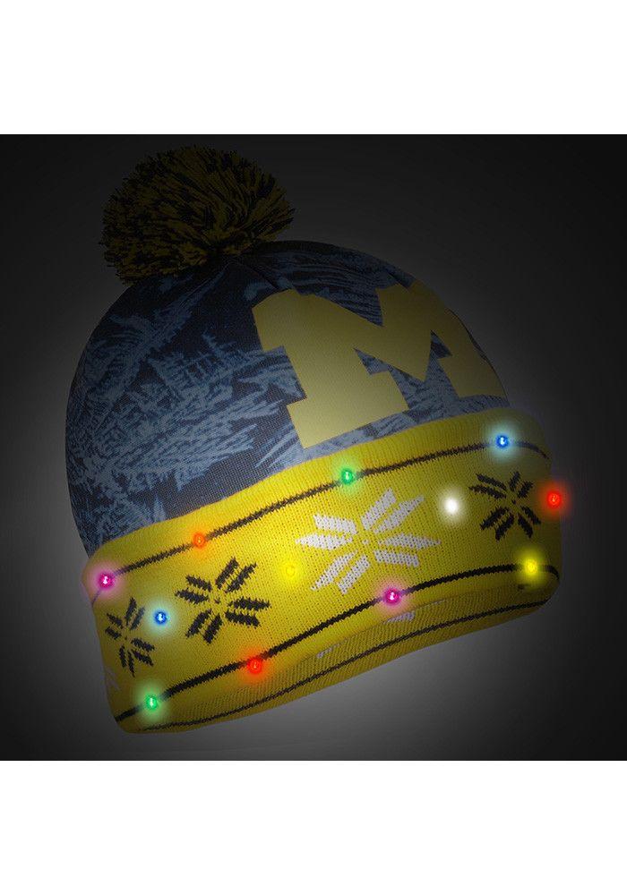 320875469f7 Michigan Wolverines Blue Big Logo Light Up Printed Mens Knit Hat - Image 2